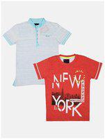 Li'l Tomatoes Boy Cotton Printed T-shirt - Orange & Grey