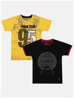 Li'l Tomatoes Boy Cotton Printed T-shirt - Yellow & Black