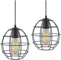 Homesake E27 Edison Vintage Black Metal Sphere Hanging Light;Set of 2;Pendant Ceiling Light Lamp