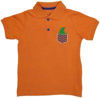 KiddoPanti Boy's Polo Tee with Wave Pocket Embroidery, Orange, 10-12Y