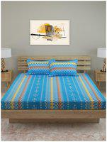 ROMEE Cotton Geometric Queen Size Bedsheet 120 TC ( 1 Bedsheet With 2 Pillow Covers , Blue )