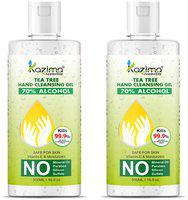 KAZIMA Hand Sanitizer (Tea Tree Hand Cleansing Gel) 70% Isopropyl Alcohol Based Instant Germ Protection;500ml (Pack of 2)
