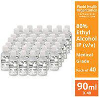 Illuvia Sanitizer 80% Ethyl Alcohol Concentration 90ml (Pack of 40)