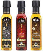 BNB Flaxseed Oil 250 ml and 250ml Black Sesame Oil and 250ml Roasted Sesame Oil ( Pack of 3 )