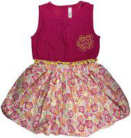 KiddoPanti Red Cotton Sleeveless Knee Length Princess Frock ( Pack of 1 )
