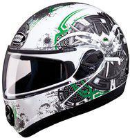 Studds NINJA 2G D1 Full Face Helmet (White & Green, 580MM)