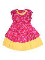 KiddoPanti Pink & Yellow Cotton Short Sleeves Knee Length Winter Frock ( Pack of 1 )