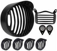 Yashinika Plastic Cap Grill for Headlight Tail Light Parking Bike Headlight Grill (Black)