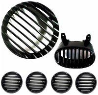 Yashinika Plastic Headlight Tail Light Indicator Grill Protector Bike Headlight Grill (Black) 6 pcs set