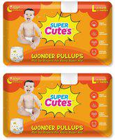Super Cute's Wonder Pullups Pant Style Premium Diaper For Superior Absorption L 33 Pieces Each (Set of 2)