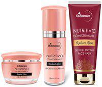 StBotanica NUTRITIVO Pomegranate Radiant Glow Combo   Under Eye Cream 30ml plus Face Wash 100ml plus Night Cream 50g Pack of 3