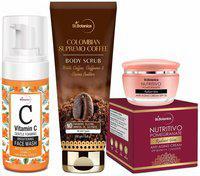 StBotanica Radiant Glow Skin Care   Vitamin C Face Wash 120ml plus Coffee Body Scrub 200g plus Pomegranate Anti Ging Cream 50g Pack of 3