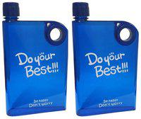 Benison India NSDJA9 Plastic Blue Water Bottle ( 380 ml , Set of 2 )