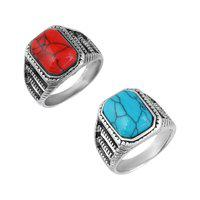 MissMister Silverplated Combo of Red and Blue Firoza fingerring(MM5700CMMI)