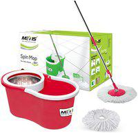 Metis S-911 Stainless Steel Spin Cleaning Bucket Mop with 2 Refills (Red)