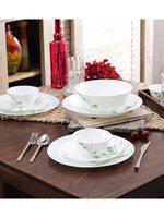 La Opala Diva Foliage Ceramic Dinner Sets - Set Of 27