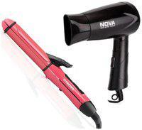 Nova Nhs800/00/nhp Hair Straightener ( Pink & Black )