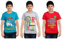 FabTag  - Dongli Boys Printed T Shirt(Multicolor, Pack of 3)