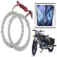 Capeshoppers Angel Eyes LED Ring LIGHT For Royal Enfield Classic 350- Blue Set Of 2