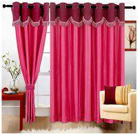 Cortina Set Of 2 Fancy Crush Pink Door Curtain (2 Pc)