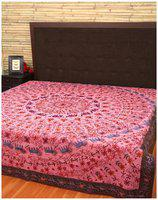 Rajrang Cotton Printed Double Size Bedsheet 104 TC ( 1 Bedsheet With 2 Pillow Covers , Pink )