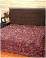 Rajrang Cotton Printed Double Size Bedsheet 104 TC ( 1 Bedsheet With 2 Pillow Covers , Brown )