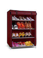 Pindia Portable Maroon Foldable Shoe Rack Organizer