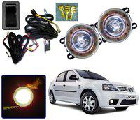 Auto Pearl Car High Power 9 DRL LED DDEL Fog Light With Wiring Kit & Switch For Mahindra Logan