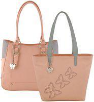 Butterflies Faux Leather Women Handheld Bag - Pink