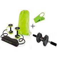 Ibs Revoflex Slimming Workout Bands Rubber Xtreme With Roller Wheel With Bodi Pro Clipholder Ab Exerciser (green Black)