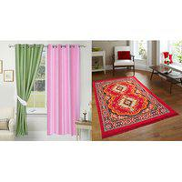 Azaani Beautiful 2 Solid Polyester Door Curtains With One Quilted Jute Carpets