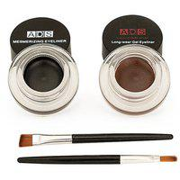 Ads Long Lasting Gel Eyeliner (smudge-proof) Black And Brown- 3gm Each
