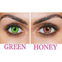 Magjons Combo Of Green Honey Fashion Colour Contact Lens With Case Solution '0' Power