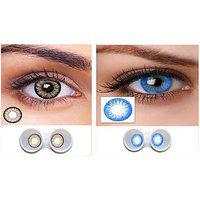 Magjons Combo Of Grey And Blue Fashion Colour Contact Lens With Case Solution '0' Power