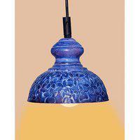 Ah Blue Color Flower Design Iron Pendant Ceiling Hanging Lamp ( Pack Of 1 )
