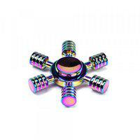 6 Stick Wheel Aluminum Fidget Spinner Toy For Autism Adult Child Rainbow Color