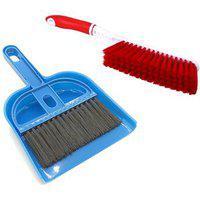 Stylewell Combo Of Mini Dustpan Broom Set And Carpet / Car Seat / Mats Cleaning Hard Long Bristles Plastic Brush