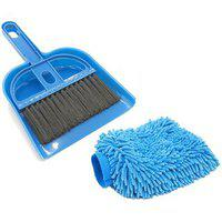 Stylewell Combo Of Mini Dustpan Broom Set And Microfiber Home Office Car Vehicle Washing Cleaning Hand Gloves Mitts