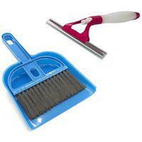 Stylewell Combo Of Mini Dustpan Broom Set With Non Scratch Glass Sprayer Wiper For Cleaning Home Office Car Windows