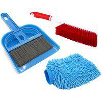 Stylewell Combo Of Mini Dustpan Broom Set Carpet / Mats / Bed Cleaning Brush With Microfiber Washing Hand Glove Mitts