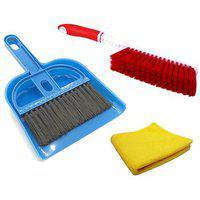 Stylewell Combo Of Mini Dustpan Broom Set Carpet / Mats Cleaning Plastic Brush With Microfiber Polish Cloth Towel
