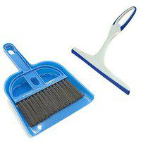 De Ultimate Combo Of Mini Dustpan Broom Set With Non Scratch Glass Wiper Cleaner For Cleaning Home Office Car Windows