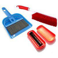 De Ultimate Combo Of Mini Dustpan Broom Set Carpet / Mats Cleaning Plastic Brush With Magic Roller Hand Dust Brush