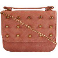 Haqeeba Pink Leatherette Material Sling Bags For Women
