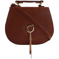 Haqeeba Brown Leatherette Material Sling Bags For Women