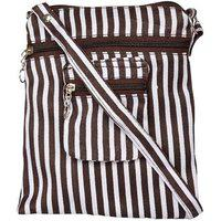 Exotique Women's Sling Bag (brown & White,cw0001br)