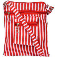 Exotique Women's Sling Bag (red & White,cw0001rd)