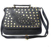 Clementine Premium Peacock Design Women's Sling Bag With Adjustable Strap (black Color)(sskclem237)