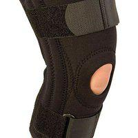 Kudize Functional Knee Support Compression Muscle Joint Protection Gym Wrap Open Patella Hinge Brace Support Black- (l)