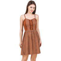 Texco Women's Brown Polka Dot Summer Dress